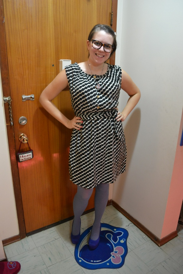 dress, tights, heels, necklace, earrings, hair clip, modcloth