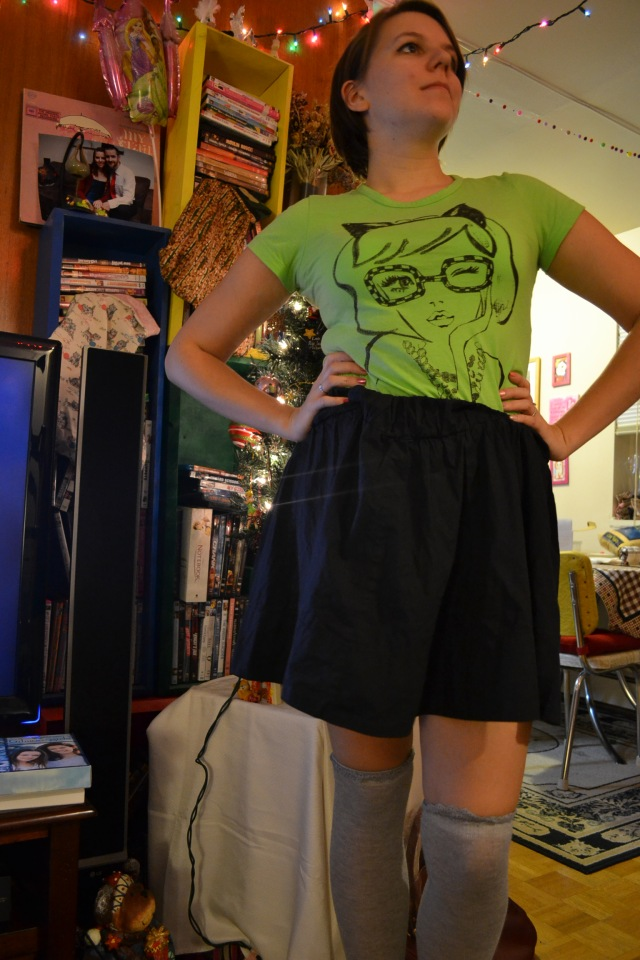skirt, socks, t-shirt